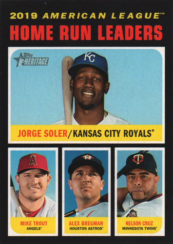 Photo of 2020 Topps Heritage #65 Jorge Soler/Alex Bregman/Nelson Cruz/Mike Trout LL