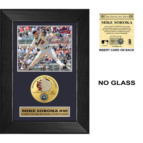 Photo of Mike Soroka Game Used Pitched Baseball 5x7 Frame