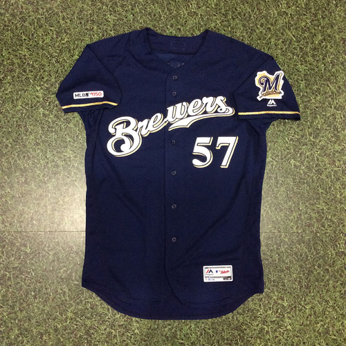 Photo of Chase Anderson 2019 Game-Used Navy Alternate Jersey