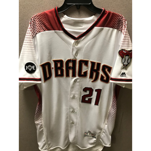 Photo of 6-Time All-Star Zack Greinke 2016 Team-Issued Home Regular Jersey With Commemorative Joe Garagiola Sleeve Patch