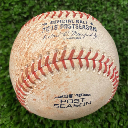 Photo of Joc Peterson Game Used Hit Single Ball - 2018 NLDS - 10/7/18