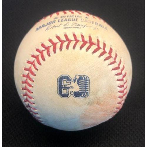Photo of Game-Used Baseball: Steve Blass Day - 9/28/2019 vs. CIN - Pitcher: Williams Jerez, Hitter: Brian O'Grady - Double