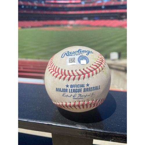 Photo of Cardinals Authentics: Game Used Baseball Pitched by Adam Wainwright to Jorge Alfaro, Magneuris Sierra, and Isan Diaz *Alfaro Strike out, Sierra Ground out, Diaz Foul* *Wainwright Strike out 1,900*