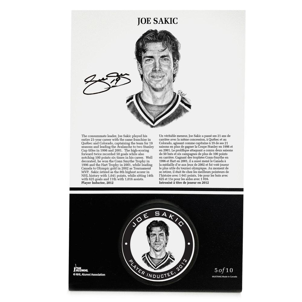 Joe Sakic Autographed Legends Line Honoured Member Puck Stand - Limited Edition 4/10