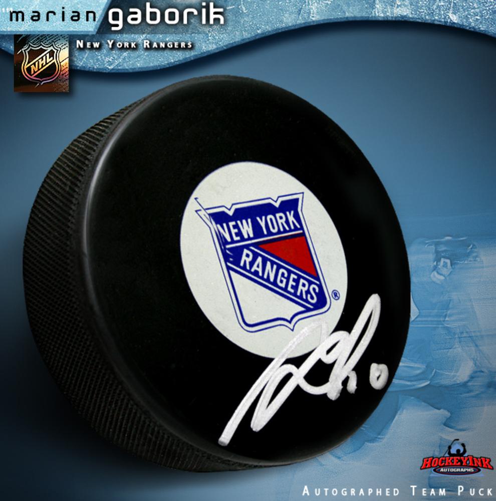 MARIAN GABORIK Signed New York Rangers Puck