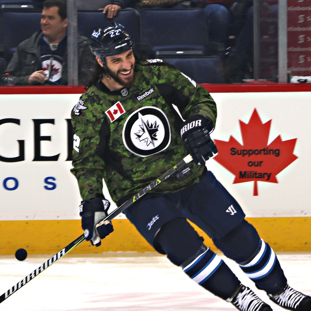 Chris Thorburn Winnipeg Jets Warm Up Worn Canadian Armed Forces jersey