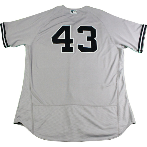 Photo of Adam Warren New York Yankees 2017 Opening Day Game-Used #43 Road Jersey (4/2/2017). Jersey Size - 48
