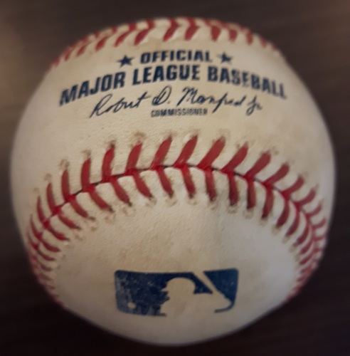 Photo of Authenticated Game Used Baseball - Double by Hanley Ramirez against Marcus Stroman. Top 2. (August 28, 2017).