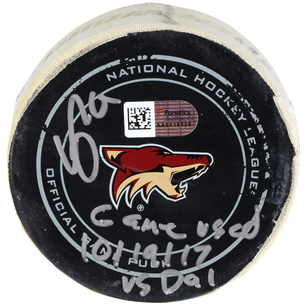 Clayton Keller Arizona Coyotes Autographed Game-Used Puck vs. Dallas Stars on October 19, 2017 with Game Used Inscription