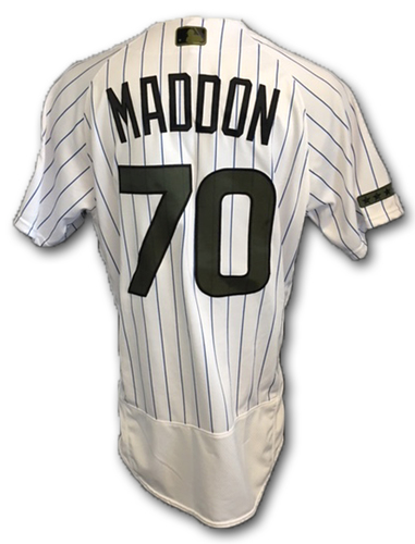 Photo of Joe Maddon Team-Issued Memorial Day Jersey -- Giants vs. Cubs -- 5/27/18
