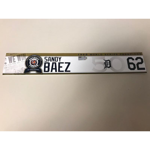 Photo of Game-Used 1968 World Series Champions 50th Anniversary Locker Name Plate: Sandy Baez