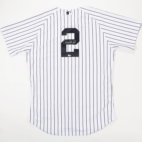 Photo of Derek Jeter Autographed New York Yankees White Pinstripe #2 Jersey - Signed in Silver