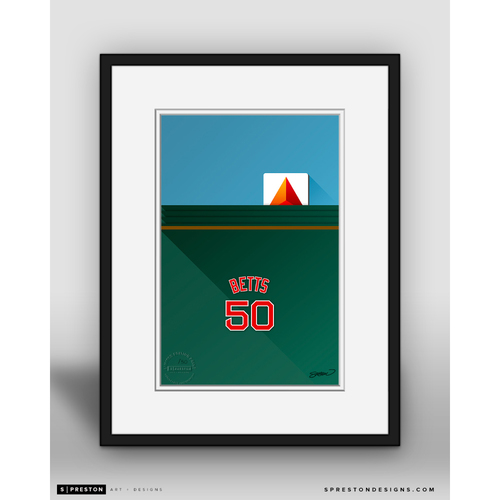 Photo of Minimalist Fenway Park Mookie Betts Player Series Framed Art Print by S. Preston - Limited Edition