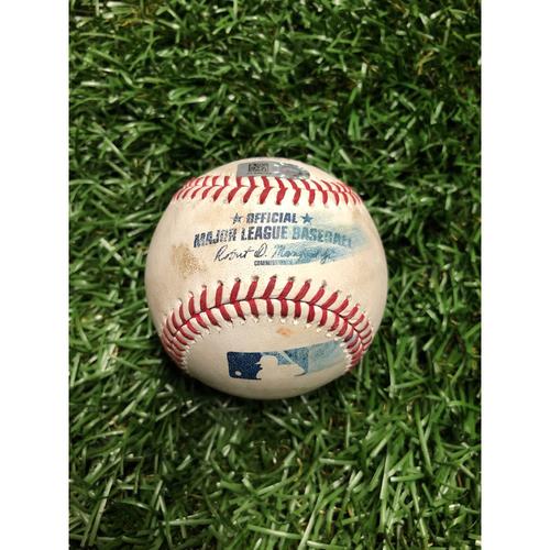 Game Used Baseball: Travis d'Arnaud Single, Austin Meadows Single & Tommy Pham foul ball off Brett Martin - June 30, 2019 v TEX