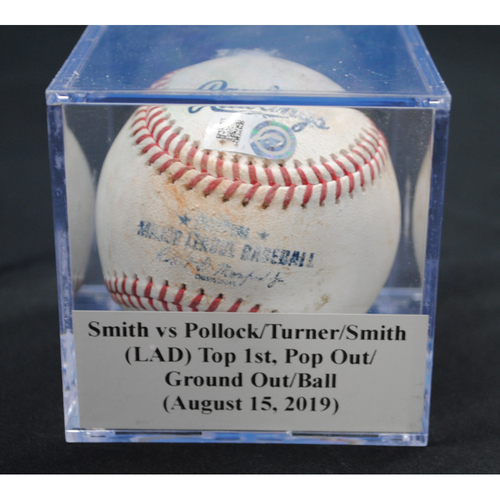 Photo of Game-Used Baseball: Caleb Smith vs A.J. Pollock/Justin Turner/Will Smith (LAD), Top 1st, Pop Out/Ground Out/Ball (August 15, 2019)