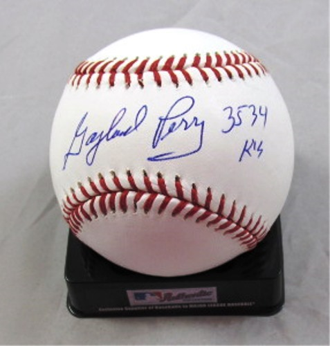 "Photo of Gaylord Perry Autographed Official Major League Baseball with ""3,534 K's"" Inscription"
