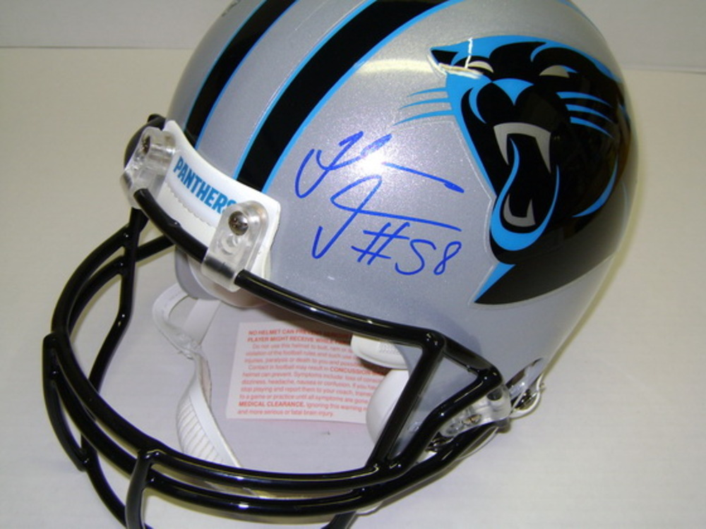 PANTHERS - THOMAS DAVIS SIGNED PANTHERS PROLINE HELMET