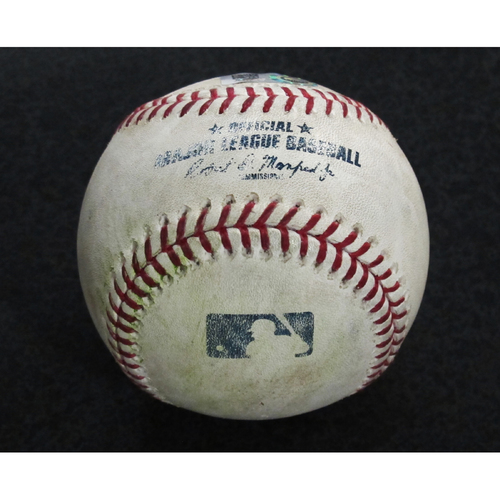 Photo of Game Used Baseball: Pitcher - Roenis Elias, Batter - Albert Pujols (Single) - 6-13-18