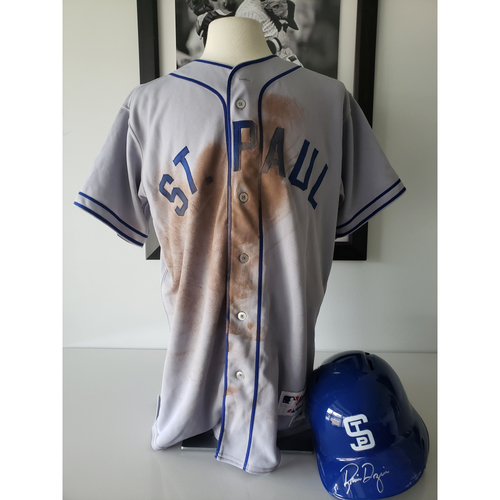 Photo of Brian Dozier 1948 St Paul Saints Game-Used Jersey and Batting Helmet