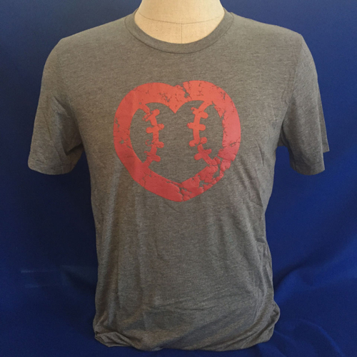 Photo of UMPS CARE AUCTION: UMPS CARE Baseball Heart Logo Men's T-Shirt, Gray w/ Red Heart (Select Your Size)
