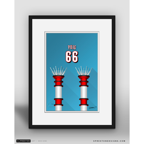 Photo of Minimalist Great American Ball Park Yasiel Puig Player Series Framed Art Print by S. Preston - Limited Edition