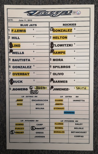 Photo of Authenticated Replica Lineup Card - June 11, 2010 at COL: Ubaldo Jimenez got the Win to move to 12-1 on the season