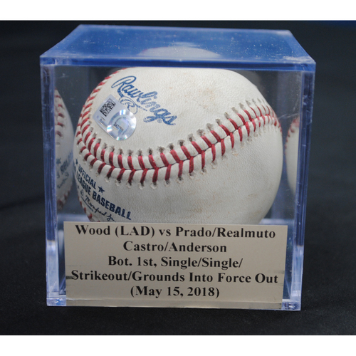 Photo of Game-Used Baseball: Alex Wood (LAD) vs Martin Prado/J.T. Realmuto/Starlin Castro/Brian Anderson, Bot. 1st, Single/Single/Strikeout/Grounds Into Force Out (May 15, 2018)