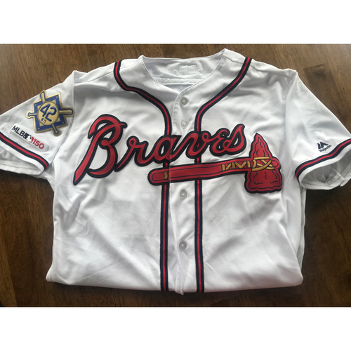 """Photo of Freddie Freeman Jackie Robinson Day """"42"""" Game Used and Autographed Jersey"""