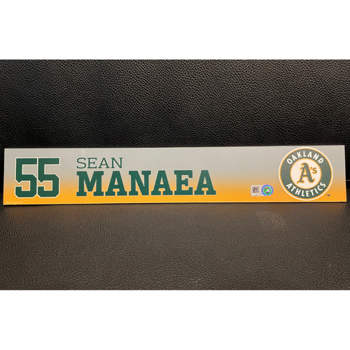 Photo of Sean Manaea Game-Used 2019 Spring Training Locker Nameplate