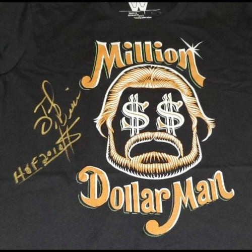 "Photo of ""Million Dollar Man"" Ted DiBiase SIGNED ""Dollar Signs"" T-Shirt."