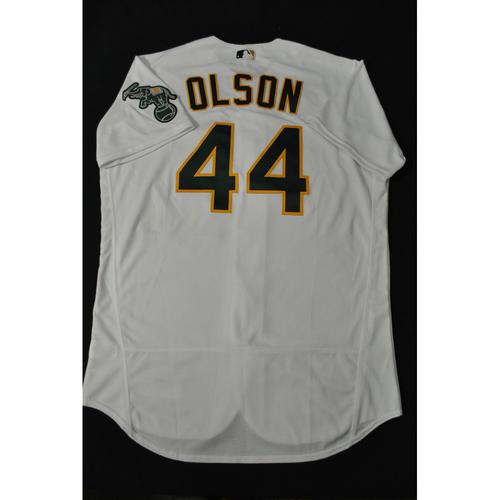 Photo of Matt Olson 2021 MLB All-Star Workout Day BP-Worn # 44 Jersey: Hank Aaron Tribute