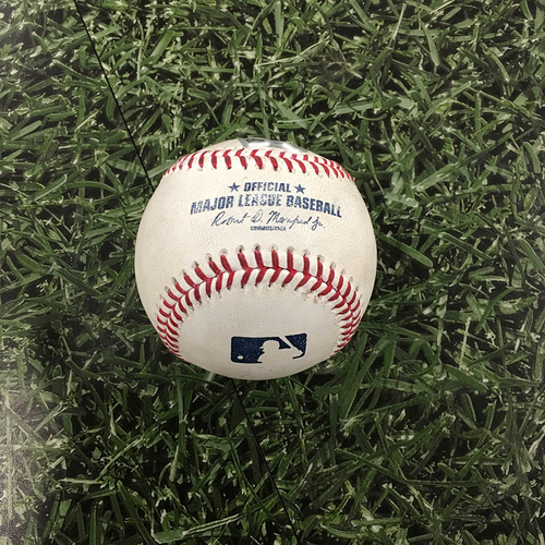 Photo of Game-Used Baseball CWS@MIL 07/23/21 - Freddy Peralta - Tim Anderson (Strikeout); Brian Goodwin (Strikeout)