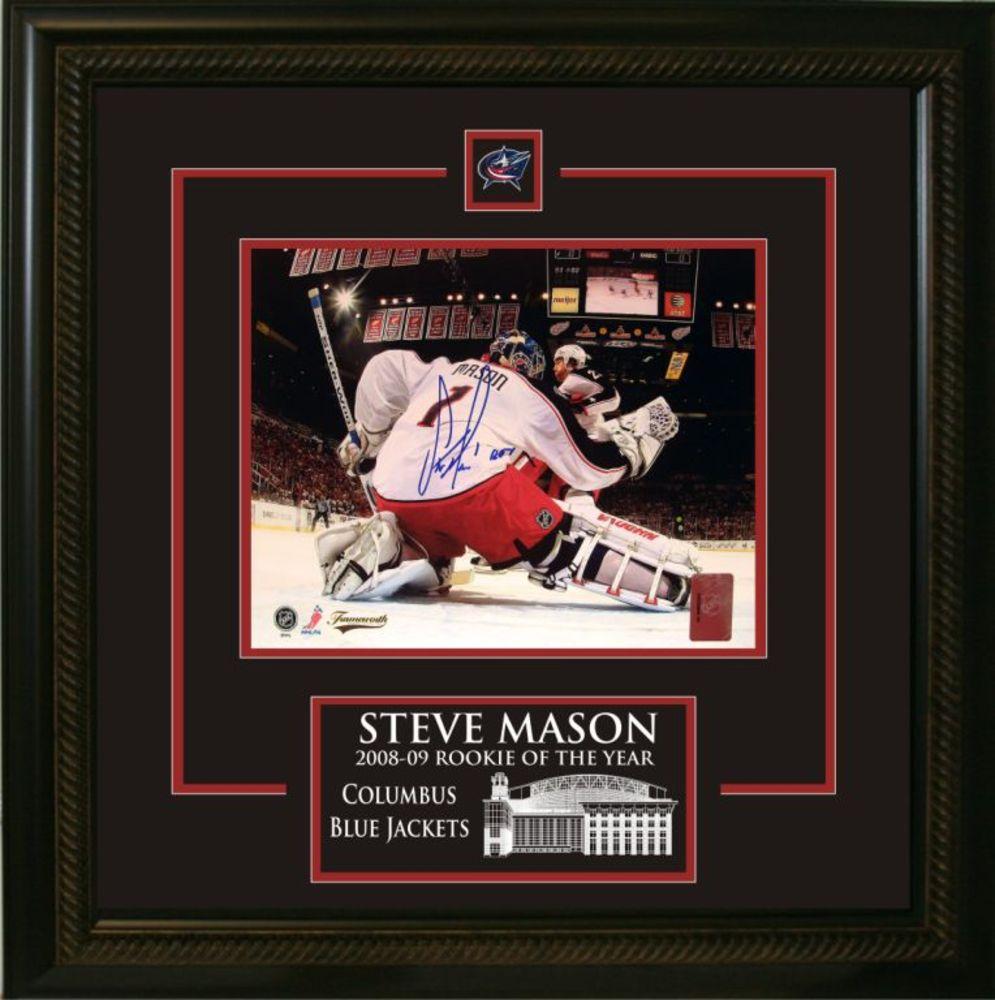 Steve Mason - Signed & Framed 8x10 Etched Mat - Blue Jackets Netcam ROY