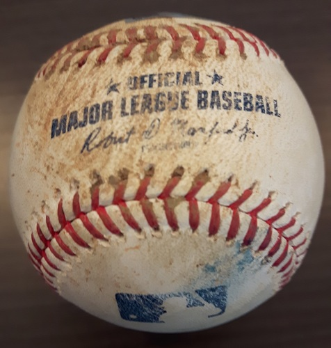 Photo of Authenticated Game Used Baseball - Double by Trey Mancini against Joe Biagini. Top 7. (September 12, 2017).