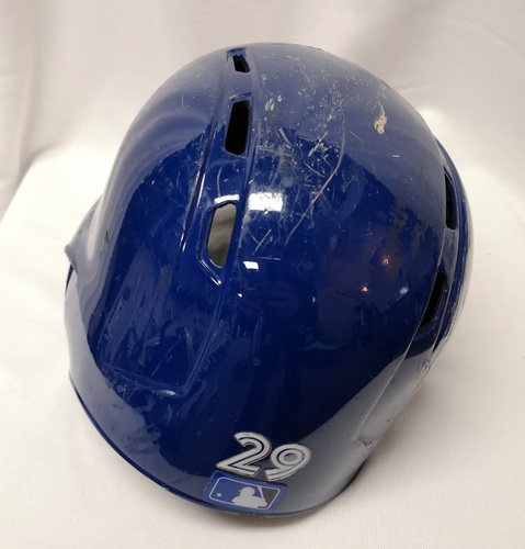 Photo of Authenticated Game Used Helmet - #29 Devon Travis (June 17, 18: 2-for-4 with 1 Double. Aug 7, 18: 2-for-6 with 1 HR, 2 Runs and 2 RBIs). Size 7 3/8.