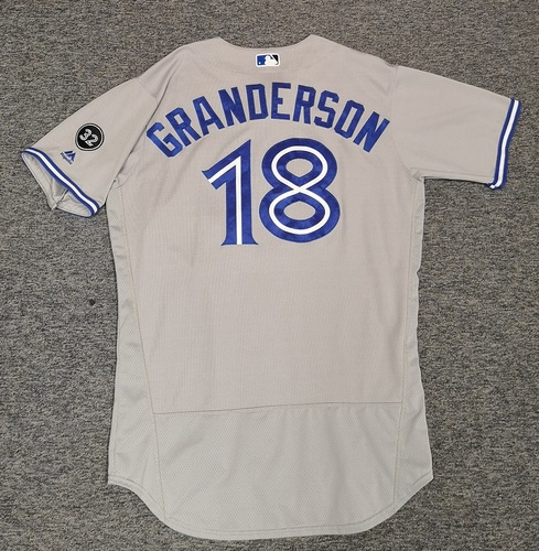 Photo of Authenticated Game Used Jersey - #18 Curtis Granderson (June 12, 18: 1-for-2. July 27, 18: 1-for-2 with 1 HR, 2 Runs, 2 RBIs, and 1 BB). Size 46.