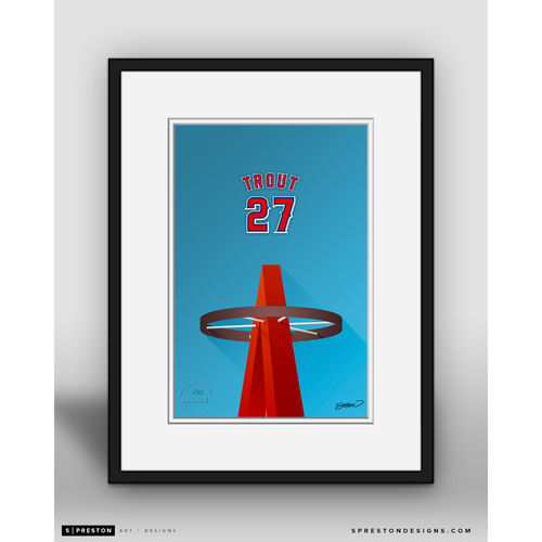 Photo of Minimalist Angel Stadium Mike Trout Player Series Framed Art Print by S. Preston - Limited Edition