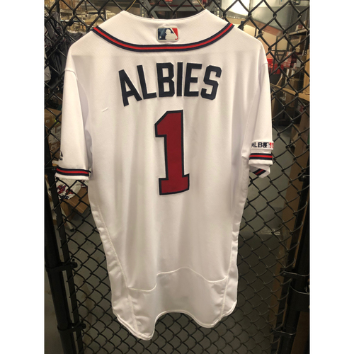Photo of Ozzie Albies 2019 Game Used Opening Day Jersey, Also Worn for THREE Home Runs