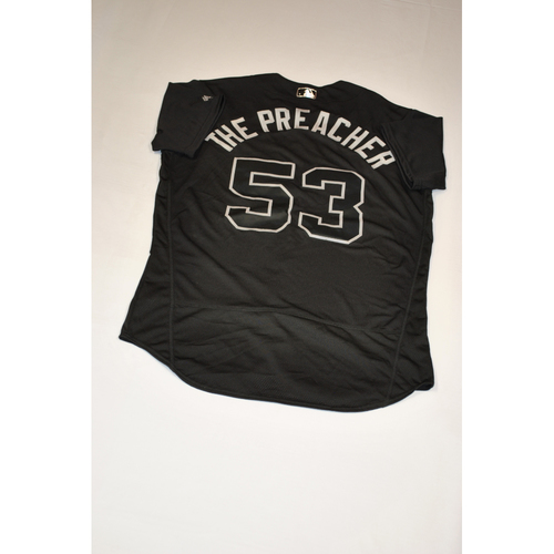 "Photo of Ty ""THE PREACHER"" Blach Baltimore Orioles Game-Used 2019 Players' Weekend Jersey"