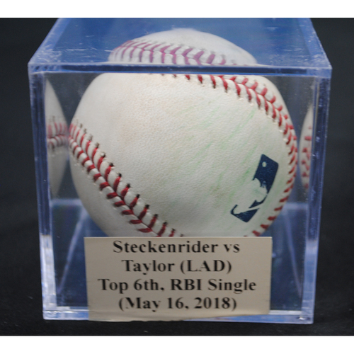 Photo of Game-Used Baseball: Drew Steckenrider vs Chris Taylor (LAD), Top 6th, RBI Single (May 16, 2018)