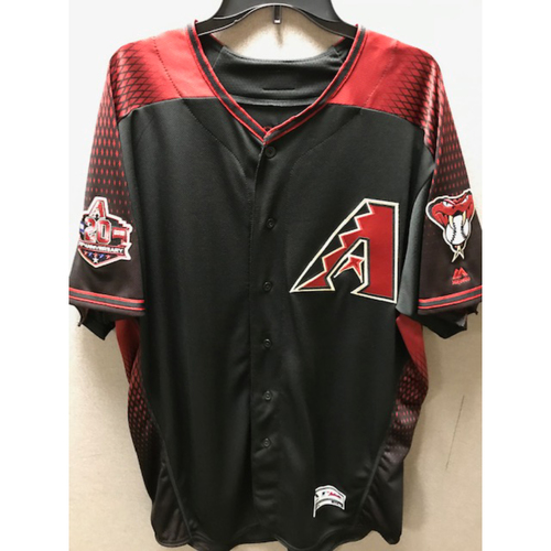 Photo of 6-Time Gold Glove Winner Zack Greinke 2018 Team-Issued Black Alternate Jersey With Commemorative 20th Anniversary Sleeve Patch