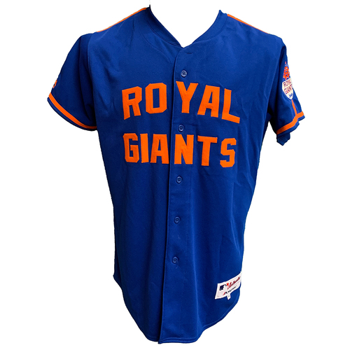 Photo of Yoenis Cespedes #52 - Game Used Royal Giants Jersey - Mets vs. Braves - 6/25/16