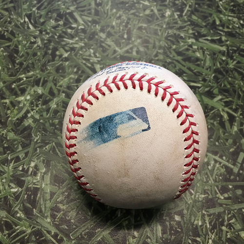 Photo of Game-Used Baseball ATL@MIL 05/16/21 - Devin Williams - Ronald Acuna Jr: Strikeout