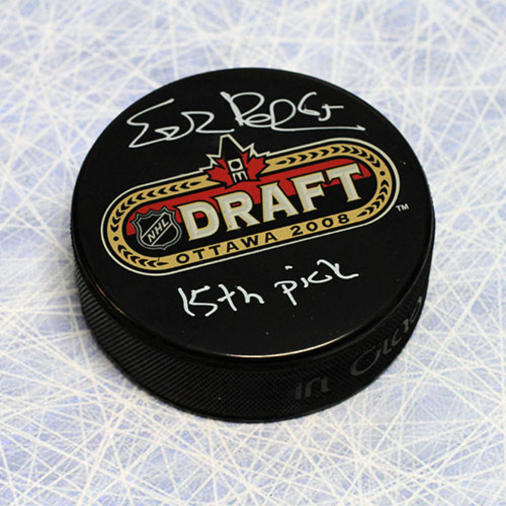 Erik Karlsson 2008 NHL Draft Day Puck Autographed w/ 15th Pick Inscription *Ottawa Senators*