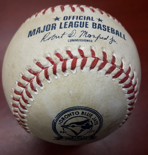 Photo of Authenticated Game Used Baseball - May 7, 2016 vs LA Dodgers: Batter - Adrian Gonzalez, Pitcher - R A Dickey, Top of 1, Single