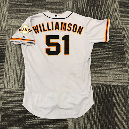 Photo of San Francisco Giants -2017 Game-Used Road Alternate Jersey worn by #51 Mac Williamson - 3-3, 1 RBI, 1 R, HR Off Clayton Kershaw