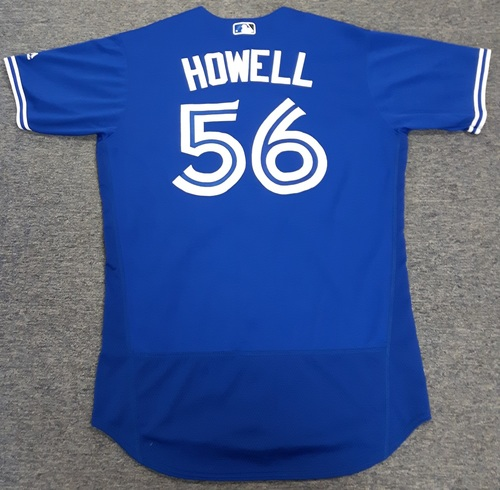 Photo of Authenticated Game Used Jersey - #56 J.P. Howell (April 3, 2017: Opening Day). Howell went 0.1 IP with 0 ER. 1st Game as a Blue Jay. Size 46