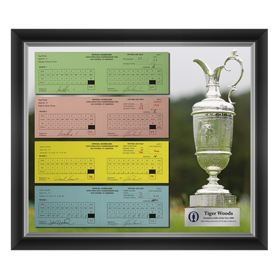 Photo of 3 of 200 L/E Tiger Woods, Champion Golfer of Year, The 129th Open 1,2,3 and Final Round Scorecard Reproductions Framed