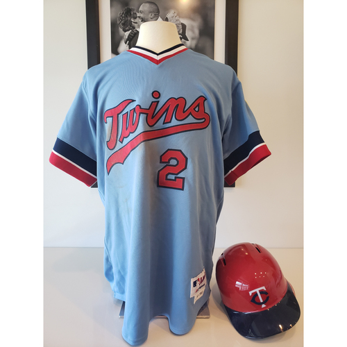 Photo of Brian Dozier 1984 Throw Back Game-Used Jersey and Batting Helmet