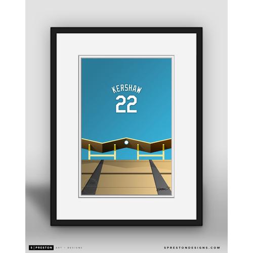 Photo of Minimalist Dodger Stadium Clayton Kershaw Player Series Framed Art Print by S. Preston - Limited Edition
